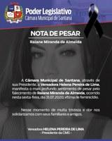 Nota de Pesar pelo falecimento de Raiane Miranda de Almeida